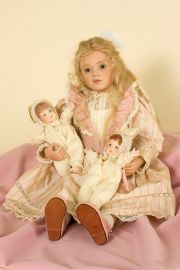 Bernice - collectible limited edition porcelain soft body art doll by doll artist Sonja Hartmann.