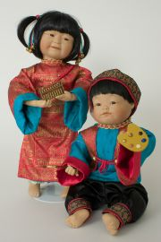 Ming and Mei Mei - limited edition porcelain soft body collectible doll  by doll artist Yolanda Bello.
