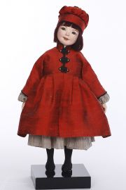 Chiyo - collectible one of a kind paperclay art doll by doll artist Barbara Vogel.