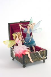 Two Faries in Jewlery - collectible one of a kind porcelain direct sculpted art doll by doll artist Maria Ahren.