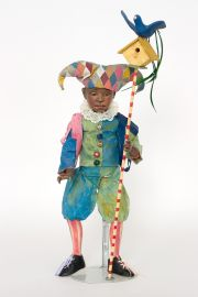 Harlequin - collectible one of a kind paperclay art doll by doll artist Nancy Wiley.