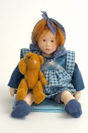 Petite Suzie - collectible limited edition leather art doll by doll artist Malou Ancelin.