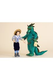 Puff the Magic Dragon - collectible one of a kind polymer clay art doll by doll artist Peter Wolf.