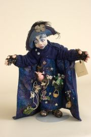 He Has a Secret - collectible one of a kind polymer clay art doll by doll artist Peter Wolf.