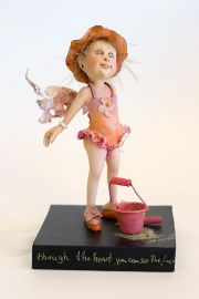 Beache Fun - collectible one of a kind paperclay art doll by doll artist Yvonne Flipse.