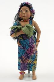 Children of the Rainforest CR4 - Brazil Girl - collectible limited edition resin art doll by doll artist Pat Kolesar.