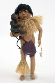 Children of the Rainforest CR3 Brazil Boy - collectible limited edition resin art doll by doll artist Pat Kolesar.