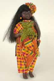 Children of the Rainforest CR1 - Sumatra (Girl) - collectible limited edition resin art doll by doll artist Pat Kolesar.