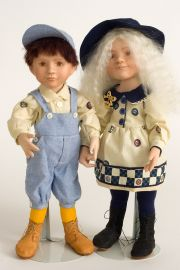 Buttons and Bo - collectible limited edition porcelain art doll by doll artist Hal Payne.