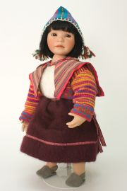 Mayumi - collectible limited edition porcelain soft body art doll by doll artist Yolanda Bello.