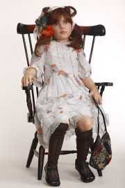 Malika - collectible one of a kind polymer clay art doll by doll artist Rotraut Schrott.