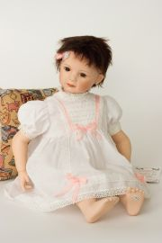 Sydney - limited edition porcelain soft body collectible doll  by doll artist Rotraut Schrott.