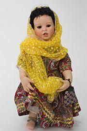 Rashni - collectible limited edition porcelain soft body art doll by doll artist Yolanda Bello.