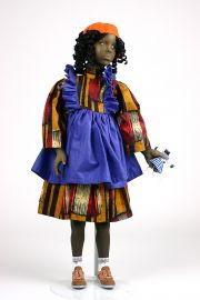 Black Girl no.15 - collectible one of a kind finished porcelain art doll by doll artist Uta Brauser.