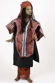 Wodaabe Man no.1 - collectible one of a kind finished porcelain art doll by doll artist Uta Brauser.