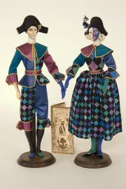 Blue Carnival Pair - collectible limited edition porcelain soft body art doll by doll artist Alexandra Kukinova.