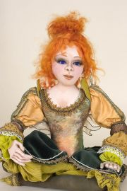 Gina - collectible one of a kind cloth art doll by doll artist Jeanie Bates.
