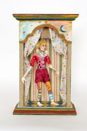 Carnival Man - collectible one of a kind paperclay art doll by doll artist Nancy Wiley.