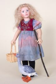 Little Goose Girl - collectible one of a kind cloth art doll by doll artist Susie McMahon.