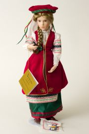 Vasilisa - limited edition porcelain wax over collectible doll  by doll artist Brigitte Deval.