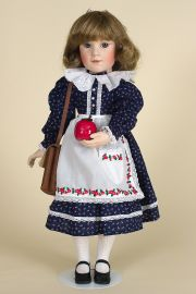 Laura's First Day of School - limited edition porcelain wax over collectible doll  by doll artist Brigitte Deval.