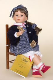 Elise - open edition porcelain soft body collectible doll  by doll artist Vivian Ohms.