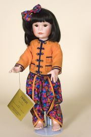 Dara - limited edition porcelain soft body collectible doll  by doll artist Sissel Skille.