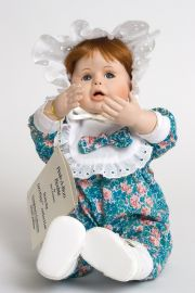 Peek a Boo Beckie - limited edition porcelain soft body collectible doll  by doll artist Terri DeHetre.