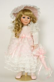 Miss Ashley - limited edition porcelain soft body collectible doll  by doll artist Pat Thompson.