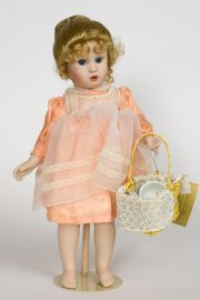 Teatime for Emma - limited edition porcelain wax over collectible doll  by doll artist Brigitte Deval.
