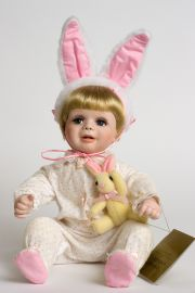 Baby Bunting - limited edition porcelain soft body collectible doll  by doll artist Terri DeHetre.