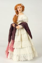 Miss Woodruff - collectible one of a kind polymer clay art doll by doll artist Marlena Blanford.