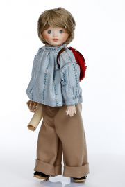 Soapbubble Chris - limited edition porcelain soft body collectible doll  by doll artist Anker Dolls.