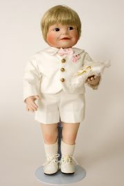 Brandon the Ring Bearer - limited edition porcelain soft body collectible doll  by doll artist Yolanda Bello.