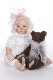 Camille - collectible one of a kind polymer clay art doll by doll artist Debra Lynn.