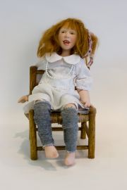 Cassy - collectible limited edition porcelain art doll by doll artist Sandi McAslan.