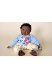 Jordan boy black powder blue - collectible limited edition resin art doll by doll artist Joanne Gelin.