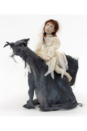 Elfin Journey - collectible limited edition porcelain soft body art doll by doll artist Sandi McAslan.