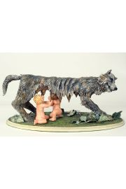Romulus and Remus - collectible one of a kind polymer clay art doll by doll artist Pat Kolesar.