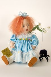 Miss Muffet - collectible limited edition porcelain art doll by doll artist Susan Dunham.
