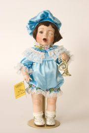 Boy Blue - collectible limited edition porcelain art doll by doll artist Susan Dunham.
