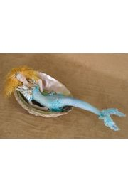 Mermaid in Shell M22 - collectible one of a kind porcelain art doll by doll artist Susan Snodgrass.