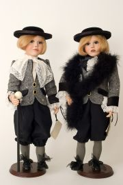 Justine L. and Clea R. - collectible limited edition porcelain soft body art doll by doll artist Janet Ness.