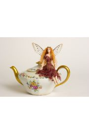 Limoges Teapot Fairy - collectible one of a kind porcelain art doll by doll artist Susan Snodgrass.