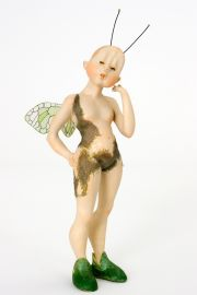 Elf no.22 - collectible one of a kind paperclay art doll by doll artist Tine Kamerbeek.