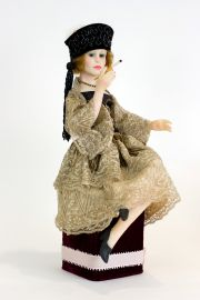 Flapper - collectible one of a kind polymer clay art doll by doll artist Edna Dali.
