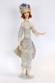 Long Necked Lady DA2 - collectible one of a kind polymer clay art doll by doll artist Edna Dali.