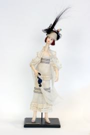 Long Necked Lady DA1 - collectible one of a kind polymer clay art doll by doll artist Edna Dali.