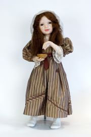 Girl with Bird's Nest - collectible one of a kind polymer clay art doll by doll artist Edna Dali.