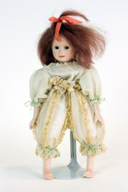 White Bean Bag Doll DA12 - collectible one of a kind porcelain art doll by doll artist Edna Dali.